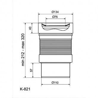 Гофра ANI Plast К821 для унитаза d 110 мм, длина 230 мм - 500 мм цена