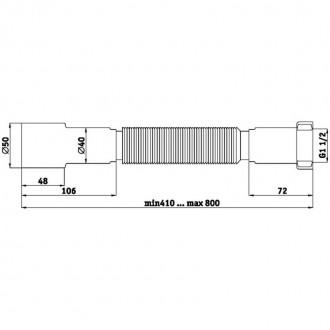 Гибкая труба ANI Plast К106 1 1/2х40/50 длина 410 мм - 800 мм цена