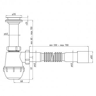 Сифон ANI Plast A0515 для кухонной мойки, выпуск 70 мм выход 40/50 мм цена