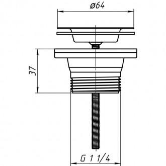 Выпуск ANI Plast М200 с нержавеющей сеткой 64 мм, выход  1 1/4
