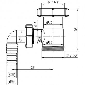 Отвод ANI Plast М110 для стиральной машины 1 1/2