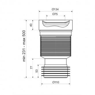 Гофра ANI Plast К828R для унитаза d 110 мм, длина 230 мм - 500 мм цена