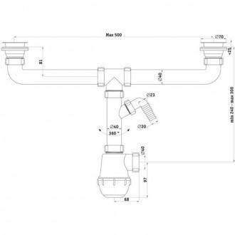 Сифон ANI Plast А3500 для кухонной мойки с двумя чашами, с отводом для стиральной машины, выпуск 70 мм выход 50 мм цена