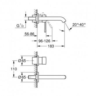 Внешняя часть смесителя для умывальника Grohe Essence New со стены M-Size 19408001 цена