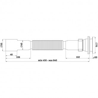 Гофросифон ANI Plast G106 40/50 длина 450 мм-840 мм, выпуск 70 мм цена