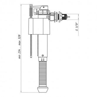 Впускной клапан ANI Plast WC5030 боковой подачи, пластиковое подключение 3/8