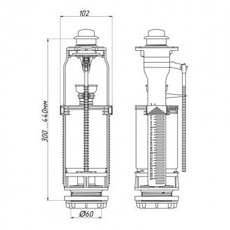 Арматура ANI Plast WC7050M двухуровневая без клапана, хромированная кнопка цена