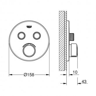 Внешняя часть термостатического смесителя на 2 выхода Grohe SmartControl 29145000 цена