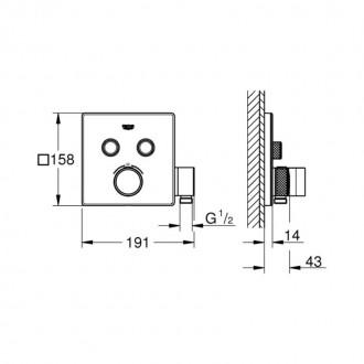Внешняя часть термостатического смесителя на 2 выхода с держателем Grohe Grohtherm SmartControl 29125000 цена