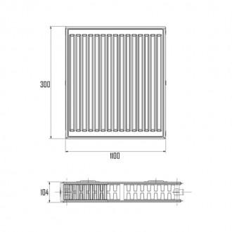 Радиатор стальной Aquatronic класс 22 300Hх1100L нижнее подключение цена